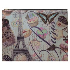 French Pastry Vintage Scripts Floral Scripts Butterfly Eiffel Tower Vintage Paris Fashion Cosmetic Bag (XXXL)