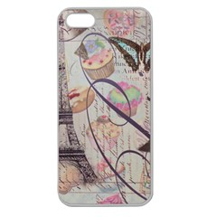 French Pastry Vintage Scripts Floral Scripts Butterfly Eiffel Tower Vintage Paris Fashion Apple Seamless Iphone 5 Case (clear)