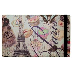 French Pastry Vintage Scripts Floral Scripts Butterfly Eiffel Tower Vintage Paris Fashion Apple Ipad 2 Flip Case