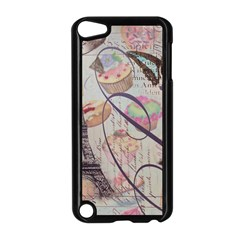 French Pastry Vintage Scripts Floral Scripts Butterfly Eiffel Tower Vintage Paris Fashion Apple iPod Touch 5 Case (Black)