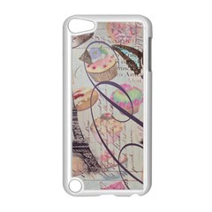 French Pastry Vintage Scripts Floral Scripts Butterfly Eiffel Tower Vintage Paris Fashion Apple iPod Touch 5 Case (White)