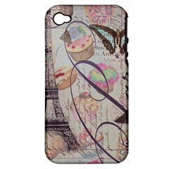 French Pastry Vintage Scripts Floral Scripts Butterfly Eiffel Tower Vintage Paris Fashion Apple iPhone 4/4S Hardshell Case (PC+Silicone)