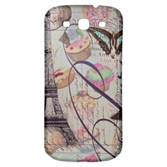 French Pastry Vintage Scripts Floral Scripts Butterfly Eiffel Tower Vintage Paris Fashion Samsung Galaxy S3 S Iii Classic Hardshell Back Case