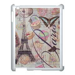 French Pastry Vintage Scripts Floral Scripts Butterfly Eiffel Tower Vintage Paris Fashion Apple iPad 3/4 Case (White)