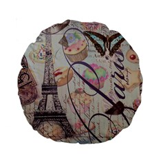 French Pastry Vintage Scripts Floral Scripts Butterfly Eiffel Tower Vintage Paris Fashion 15  Premium Round Cushion