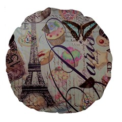 French Pastry Vintage Scripts Floral Scripts Butterfly Eiffel Tower Vintage Paris Fashion 18  Premium Round Cushion