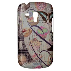 French Pastry Vintage Scripts Floral Scripts Butterfly Eiffel Tower Vintage Paris Fashion Samsung Galaxy S3 MINI I8190 Hardshell Case