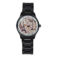 French Pastry Vintage Scripts Floral Scripts Butterfly Eiffel Tower Vintage Paris Fashion Sport Metal Watch (black)