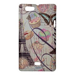 French Pastry Vintage Scripts Floral Scripts Butterfly Eiffel Tower Vintage Paris Fashion Sony Xperia Miro Hardshell Case