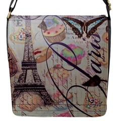 French Pastry Vintage Scripts Floral Scripts Butterfly Eiffel Tower Vintage Paris Fashion Flap closure messenger bag (Small)