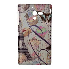 French Pastry Vintage Scripts Floral Scripts Butterfly Eiffel Tower Vintage Paris Fashion Sony Xperia ZL L35H Hardshell Case