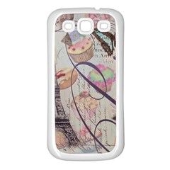 French Pastry Vintage Scripts Floral Scripts Butterfly Eiffel Tower Vintage Paris Fashion Samsung Galaxy S3 Back Case (white)