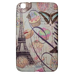 French Pastry Vintage Scripts Floral Scripts Butterfly Eiffel Tower Vintage Paris Fashion Samsung Galaxy Tab 3 (8 ) T3100 Hardshell Case