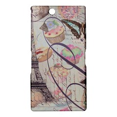 French Pastry Vintage Scripts Floral Scripts Butterfly Eiffel Tower Vintage Paris Fashion Sony Xperia XL39h (Xperia Z Ultra) Hardshell Case