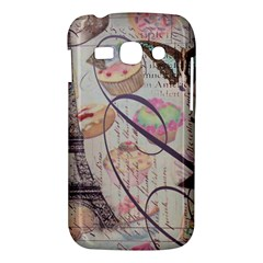 French Pastry Vintage Scripts Floral Scripts Butterfly Eiffel Tower Vintage Paris Fashion Samsung Galaxy Ace 3 S7272 Hardshell Case