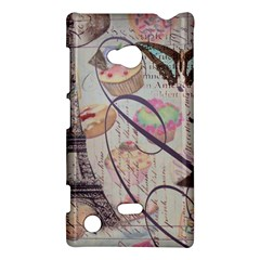 French Pastry Vintage Scripts Floral Scripts Butterfly Eiffel Tower Vintage Paris Fashion Nokia Lumia 720 Hardshell Case