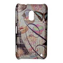 French Pastry Vintage Scripts Floral Scripts Butterfly Eiffel Tower Vintage Paris Fashion Nokia Lumia 620 Hardshell Case