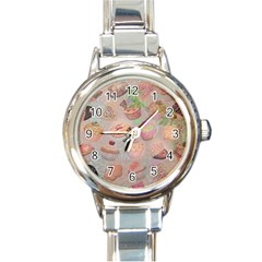 French Pastry Vintage Scripts Cookies Cupcakes Vintage Paris Fashion Round Italian Charm Watch