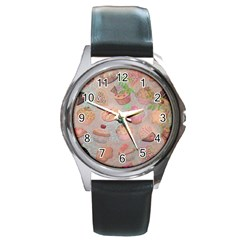 French Pastry Vintage Scripts Cookies Cupcakes Vintage Paris Fashion Round Metal Watch (Silver Rim)