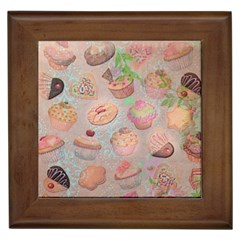 French Pastry Vintage Scripts Cookies Cupcakes Vintage Paris Fashion Framed Ceramic Tile