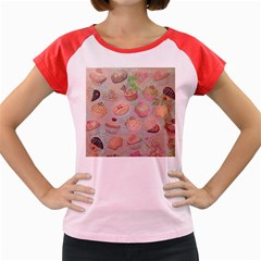 French Pastry Vintage Scripts Cookies Cupcakes Vintage Paris Fashion Women s Cap Sleeve T-Shirt (Colored)