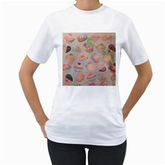 French Pastry Vintage Scripts Cookies Cupcakes Vintage Paris Fashion Womens  T-shirt (White)