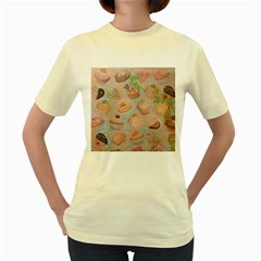 French Pastry Vintage Scripts Cookies Cupcakes Vintage Paris Fashion  Womens  T Shirt (yellow)