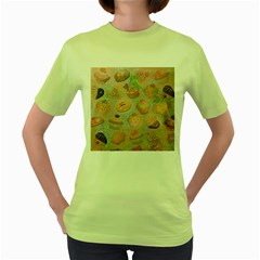 French Pastry Vintage Scripts Cookies Cupcakes Vintage Paris Fashion Womens  T-shirt (Green)