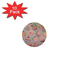 French Pastry Vintage Scripts Cookies Cupcakes Vintage Paris Fashion 1  Mini Button (10 pack)