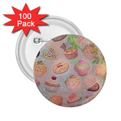 French Pastry Vintage Scripts Cookies Cupcakes Vintage Paris Fashion 2.25  Button (100 pack)
