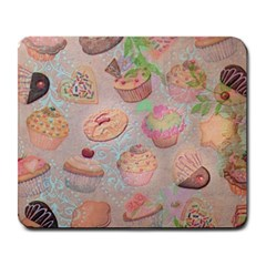 French Pastry Vintage Scripts Cookies Cupcakes Vintage Paris Fashion Large Mouse Pad (rectangle)