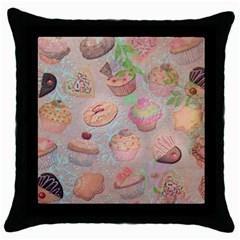 French Pastry Vintage Scripts Cookies Cupcakes Vintage Paris Fashion Black Throw Pillow Case
