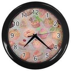 French Pastry Vintage Scripts Cookies Cupcakes Vintage Paris Fashion Wall Clock (Black)