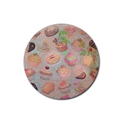 French Pastry Vintage Scripts Cookies Cupcakes Vintage Paris Fashion Drink Coaster (Round)