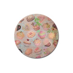 French Pastry Vintage Scripts Cookies Cupcakes Vintage Paris Fashion Magnet 3  (Round)