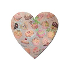 French Pastry Vintage Scripts Cookies Cupcakes Vintage Paris Fashion Magnet (Heart)
