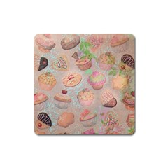 French Pastry Vintage Scripts Cookies Cupcakes Vintage Paris Fashion Magnet (Square)