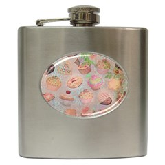 French Pastry Vintage Scripts Cookies Cupcakes Vintage Paris Fashion Hip Flask