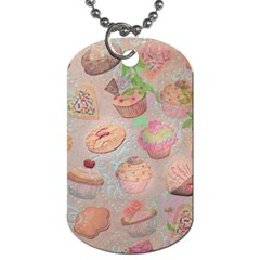 French Pastry Vintage Scripts Cookies Cupcakes Vintage Paris Fashion Dog Tag (two Sided)