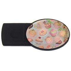 French Pastry Vintage Scripts Cookies Cupcakes Vintage Paris Fashion 2GB USB Flash Drive (Oval)