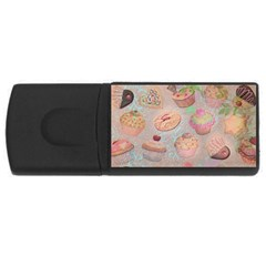 French Pastry Vintage Scripts Cookies Cupcakes Vintage Paris Fashion 2GB USB Flash Drive (Rectangle)
