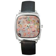 French Pastry Vintage Scripts Cookies Cupcakes Vintage Paris Fashion Square Leather Watch