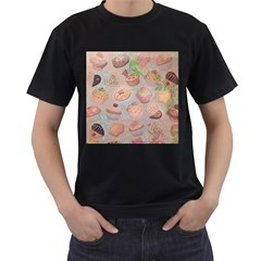French Pastry Vintage Scripts Cookies Cupcakes Vintage Paris Fashion Mens' Two Sided T Shirt (black)