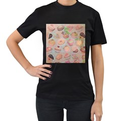 French Pastry Vintage Scripts Cookies Cupcakes Vintage Paris Fashion Womens' Two Sided T Shirt (black)