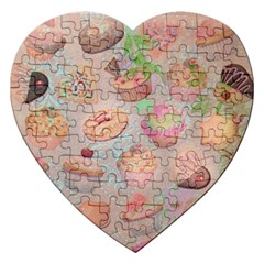 French Pastry Vintage Scripts Cookies Cupcakes Vintage Paris Fashion Jigsaw Puzzle (Heart)