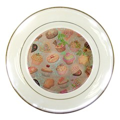 French Pastry Vintage Scripts Cookies Cupcakes Vintage Paris Fashion Porcelain Display Plate