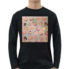 French Pastry Vintage Scripts Cookies Cupcakes Vintage Paris Fashion Mens' Long Sleeve T Shirt (dark Colored)