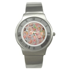 French Pastry Vintage Scripts Cookies Cupcakes Vintage Paris Fashion Stainless Steel Watch (Unisex)