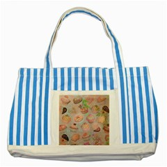 French Pastry Vintage Scripts Cookies Cupcakes Vintage Paris Fashion Blue Striped Tote Bag