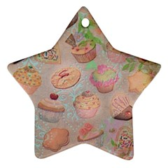 French Pastry Vintage Scripts Cookies Cupcakes Vintage Paris Fashion Star Ornament (Two Sides)
